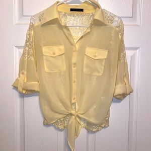 sheer light yellow lace back front tie blouse